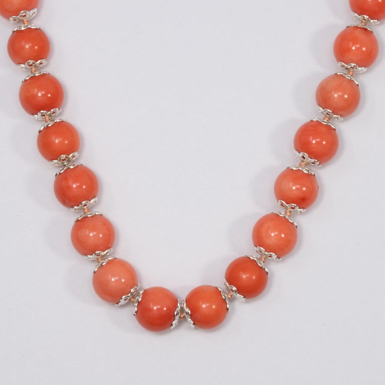Salmon Coral Bead Knotted String Silver Accent Necklace, 50 cm, Sterling Silver For Sale 1