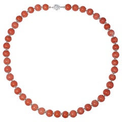 Salmon Coral Bead Knotted String Silver Accent Necklace, 50 cm, Sterling Silver
