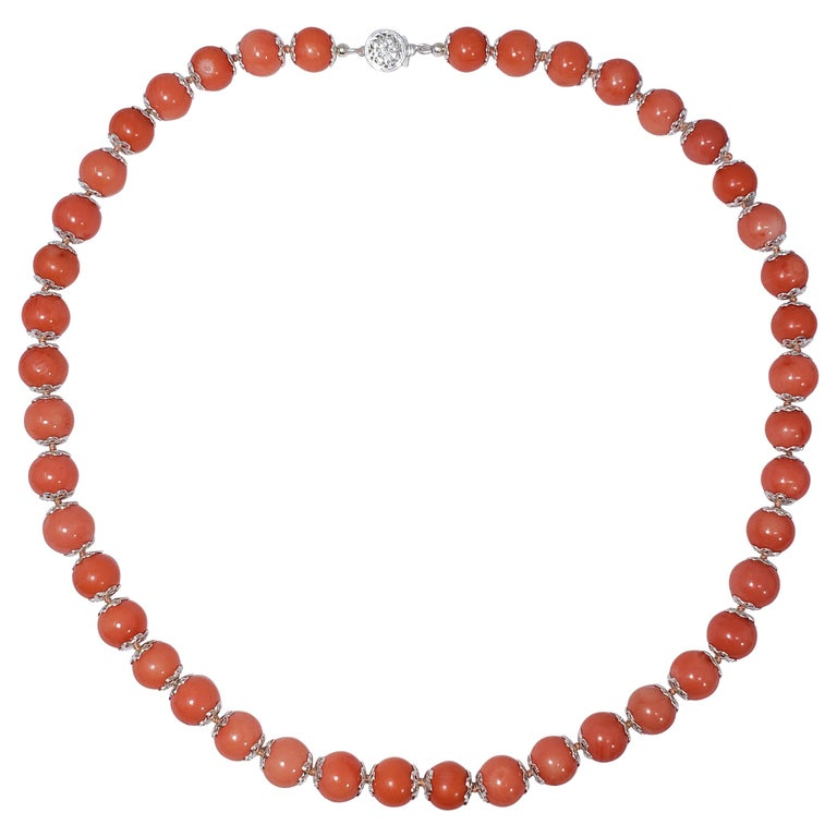 Salmon Coral Bead Knotted String Silver Accent Necklace, 50 cm, Sterling Silver For Sale