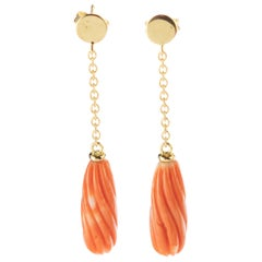 Salmon Natural Coral Carved Long Drop 18 Karat Gold Dangle Deco Intini Earrings