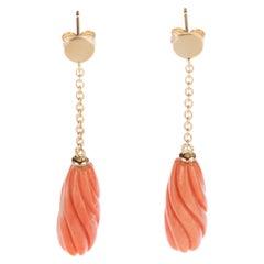 Salmon Natural Coral Spiral Carved Long Drop 18 Karat Gold Dangle Sea Earrings
