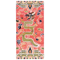 Salmon Pink, Red, Green, and Blue Wool Tibetan Dragon Area Rug