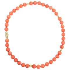 Salmon Sardinian Coral Bead Necklace with 585 Gold and Diamond Clasp, 14K Beads