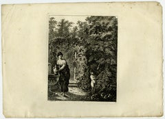 A woman with pitcher near fountain by Salomon Gessner - Etching - 18th Century