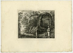 Classical ruine with a sphinx by Salomon Gessner - Etching - 18th Century
