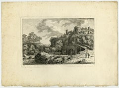 Landscape with a bridge and a castle by Salomon Gessner - Etching - 18th Century