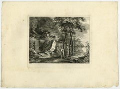 Two women and child with pitcher by Salomon Gessner - Etching - 18th Century