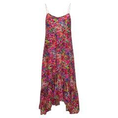 Saloni Fuchsia & Multicolor Silk Maxi Dress