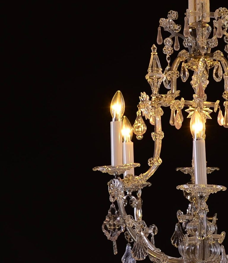 Baroque Revival Original Large Saloon baroque style crystal chandelier Maria Theresia For Sale