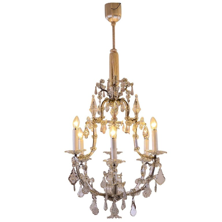 Original Large Saloon baroque style crystal chandelier Maria Theresia For Sale