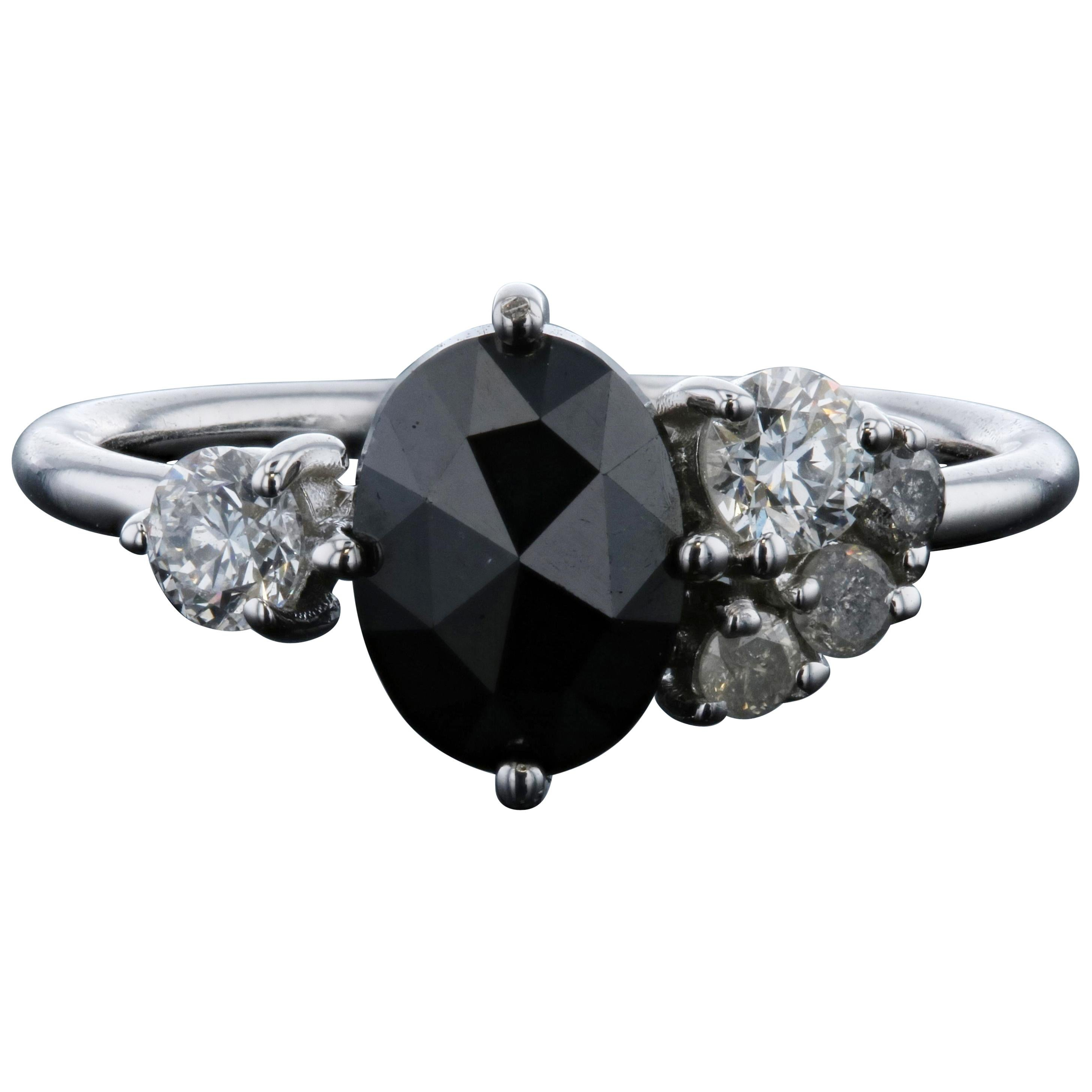 Salt and Pepper and Black Diamond Engagement Ring with Matching Wedding Band