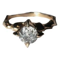 Salt and Pepper Diamond 14 Karat Yellow Gold Solitaire Ring