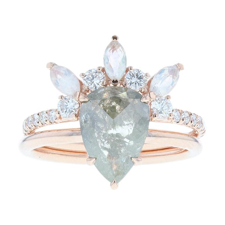 Salt and Pepper Diamond Engagement Ring Rose Gold, Moonstone Tiara Wedding Band