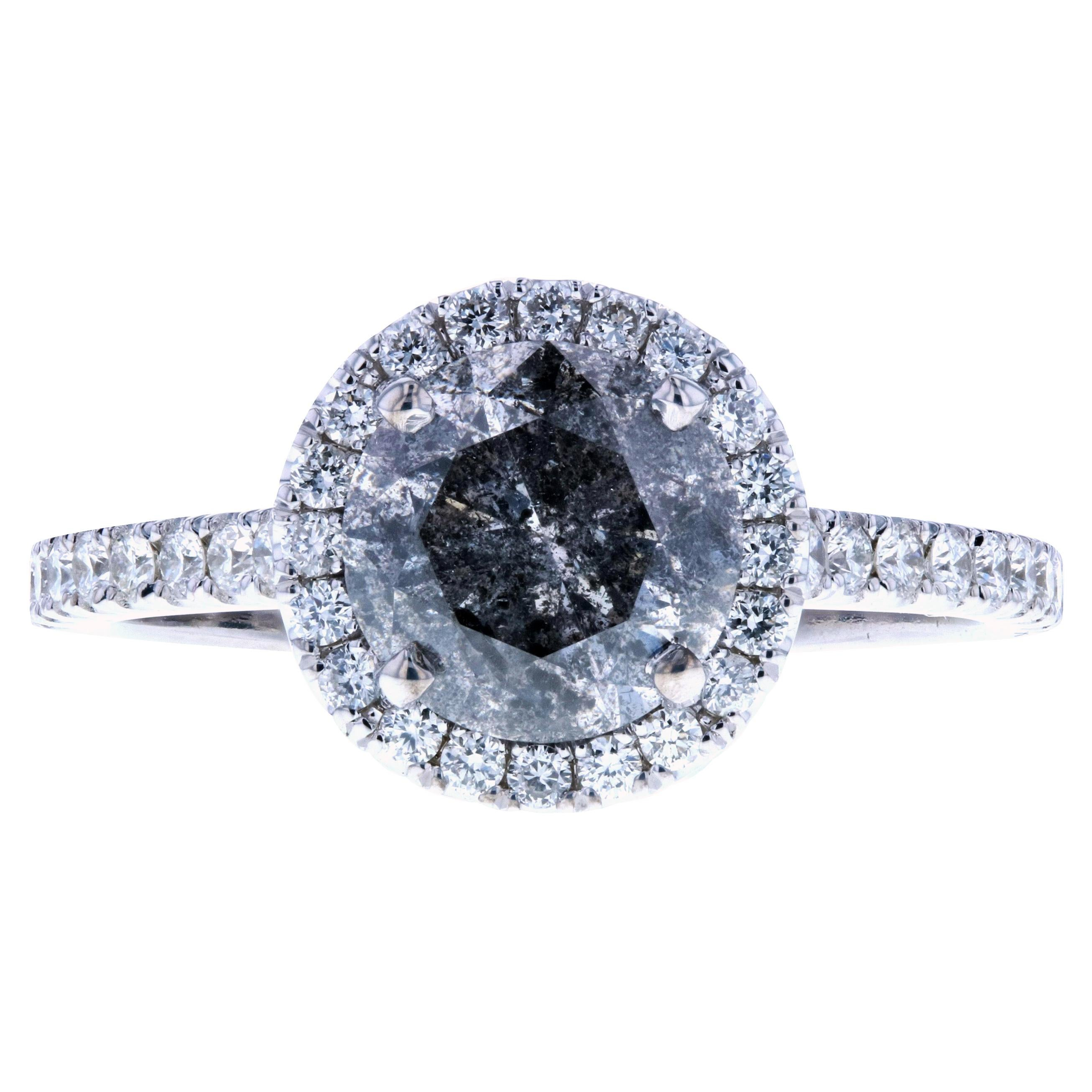 Salt and Pepper Diamond Engagement Ring with Halo, One of the Best