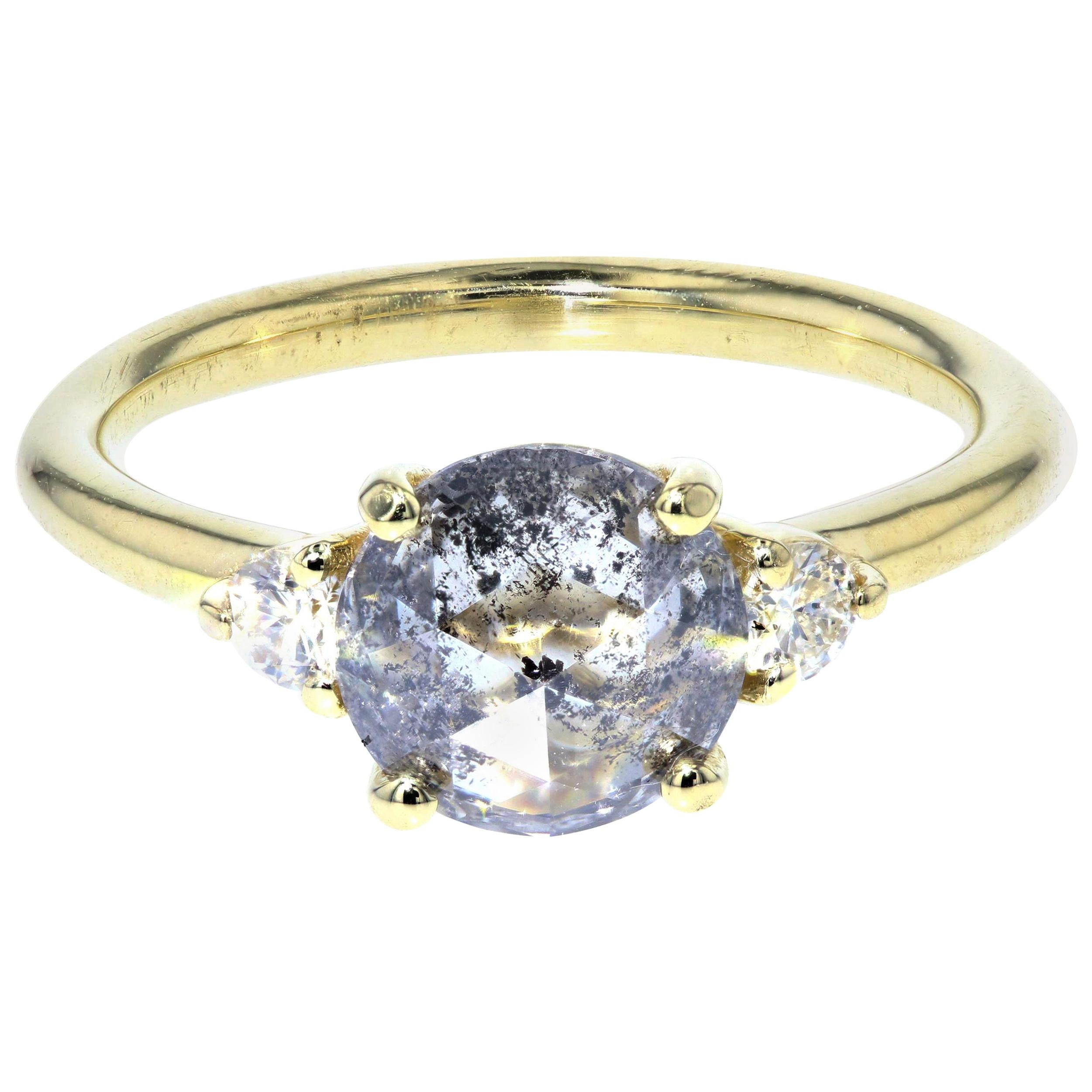 Salt and Pepper Diamond Engagement Ring with White Diamond Side Stones