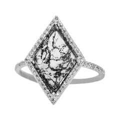Salt and Pepper Diamond Slice Ring with Diamond Pave Halo in 18k White Gold