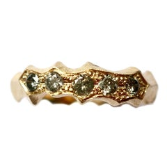 Salt and Pepper Diamond Textured Band in 14 Karat Gold