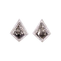 Salt and Pepper Geometric Kite Studs with Diamond Pave in 18k Matte White Gold