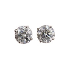 Salt and Pepper Round 2.07 Carat Diamond Stud Earrings in 14 Karat White Gold