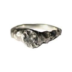 Salt and Pepper Sculptural Unisex Diamond Ring in 18 Karat White Gold