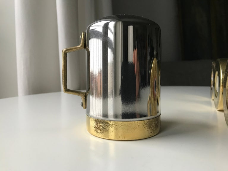 Salt and Pepper Space Age Vintage Diner Set, 1960s Chrome and Brass For Sale 6
