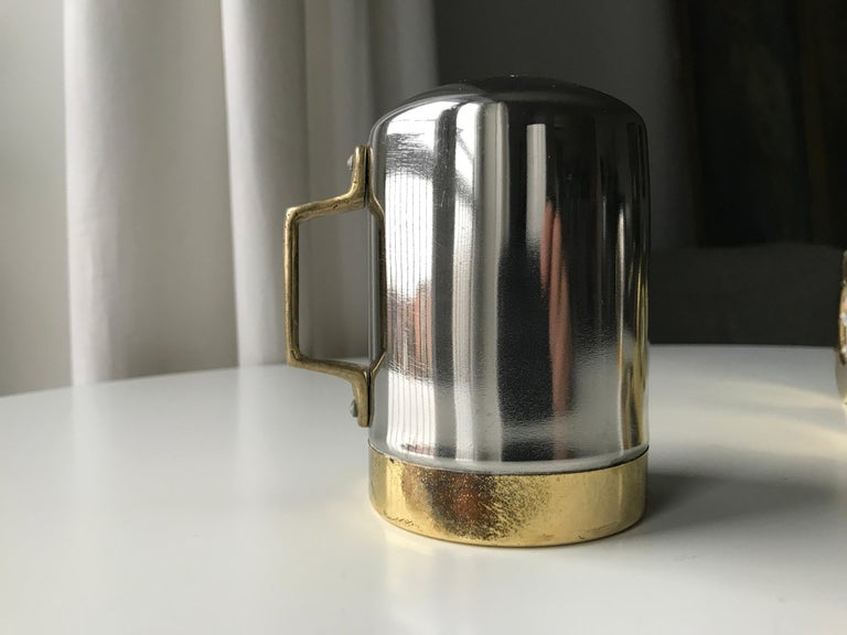 Salt and Pepper Space Age Vintage Diner Set, 1960s Chrome and Brass For Sale 8