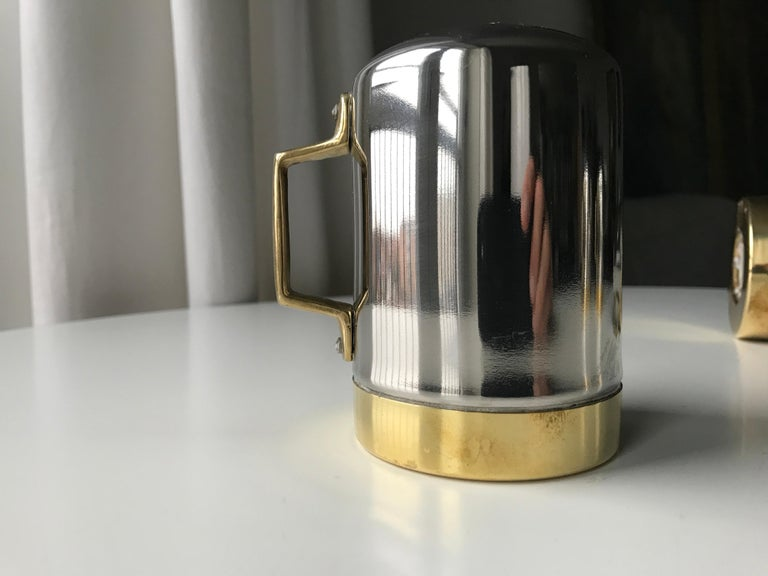Salt and Pepper Space Age Vintage Diner Set, 1960s Chrome and Brass For Sale 10