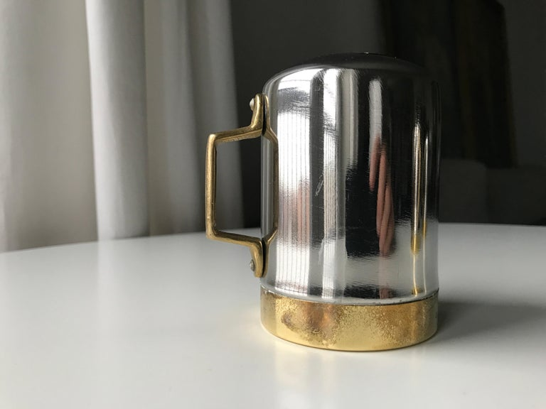 Salt and Pepper Space Age Vintage Diner Set, 1960s Chrome and Brass For Sale 12