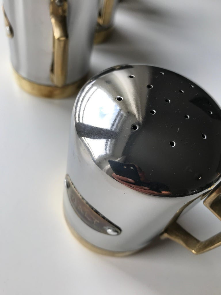 Salt and Pepper Space Age Vintage Diner Set, 1960s Chrome and Brass For Sale 14