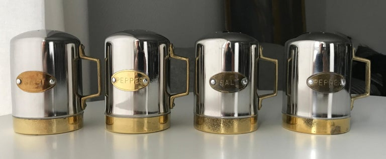 Danish Salt and Pepper Space Age Vintage Diner Set, 1960s Chrome and Brass For Sale