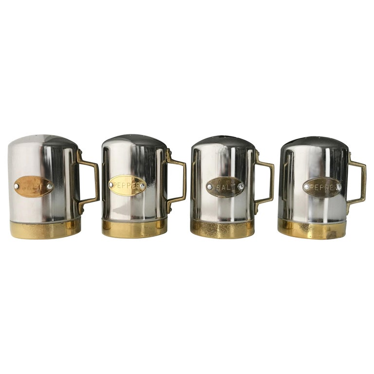 Salt and Pepper Space Age Vintage Diner Set, 1960s Chrome and Brass For Sale