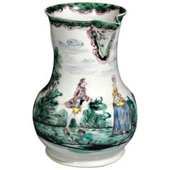 Salt Glazed Cider Jug with Polychrome Decoration, circa 1765