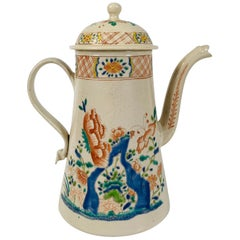 Salt-Glazed Coffee Pot Mid-18th Century England with Chinoiserie Design