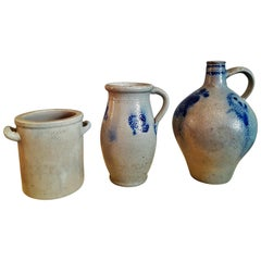 Salt Glazed Stoneware Pottery Crocks 19th Century Blue and Grey