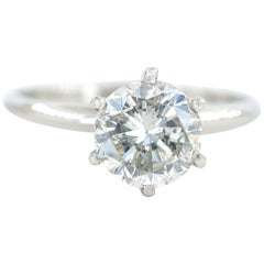 Salt and Pepper Round Diamond Solitaire Ring Metal 14 Karat White Gold