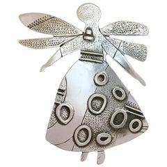 Salt Water Girl, Melanie Yazzie enhancer, pendant, sterling silver,  Navajo
