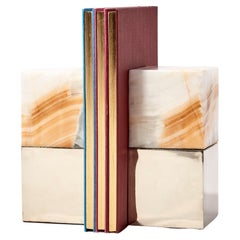 Salta Large Square Cream Onyx Stone Pair of Bookends