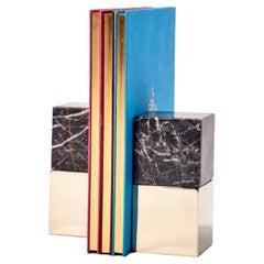 SALTA Medium Square Black Onyx Stone Pair of Bookends