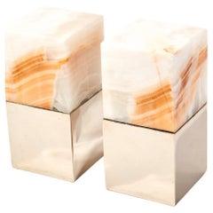 Salta Medium Square Cream Onyx Stone Pair of Bookends