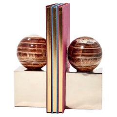 Salta Round Brown Onyx Stone Pair of Bookends