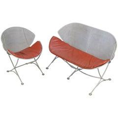 Salterini 1950s Orange Slice Settee and Lounge Chair