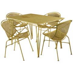 Salterini Dining Table and Four Chairs, Original Yellow