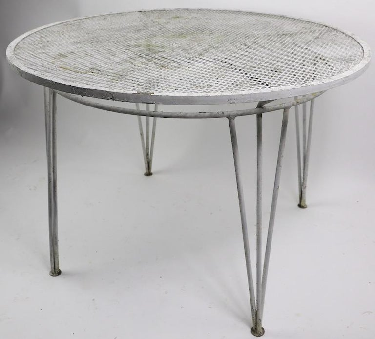 Metal Salterini Garden Patio Dining Table For Sale