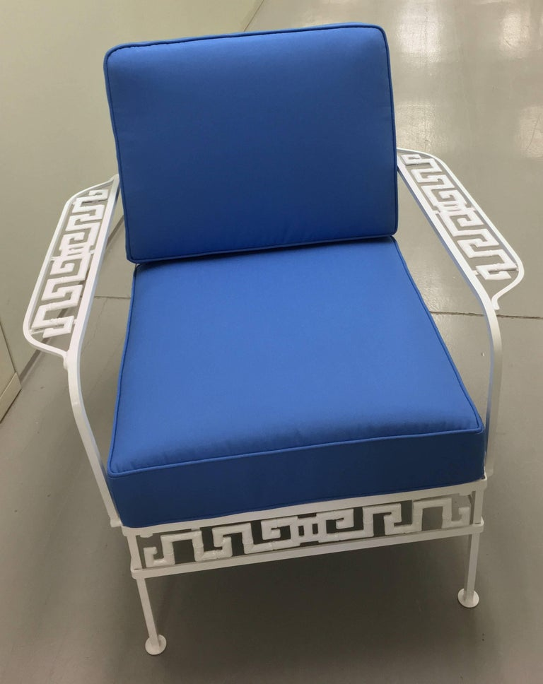 Hollywood Regency Salterini Greek Key White Chair and Ottoman For Sale