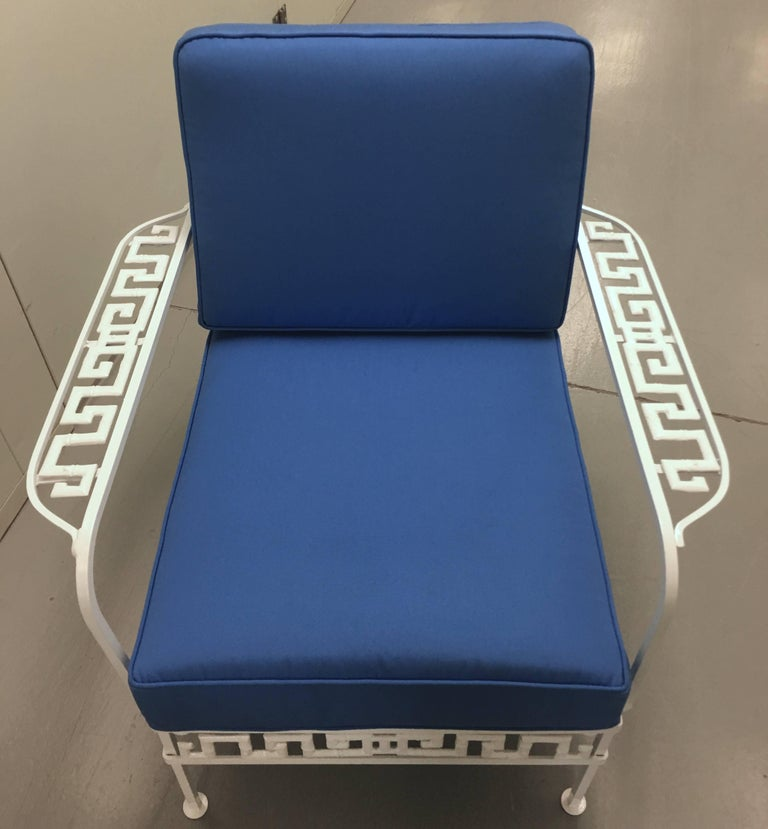 American Salterini Greek Key White Chair and Ottoman For Sale