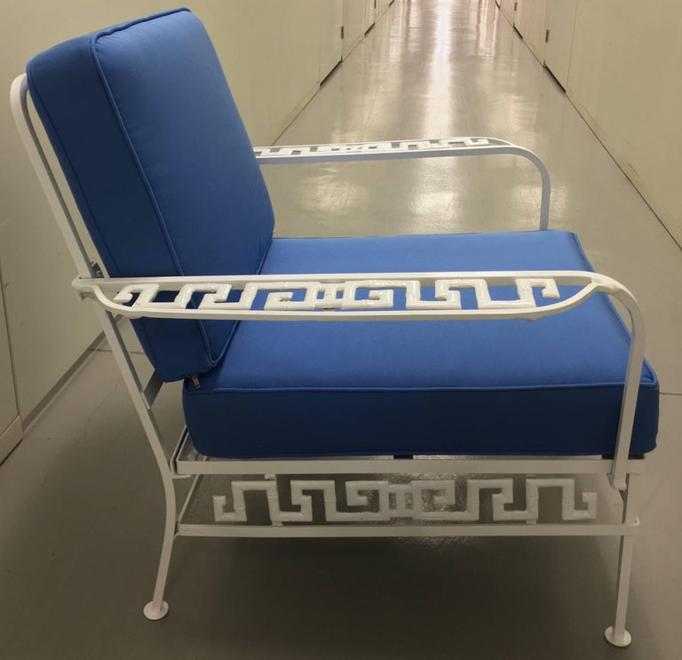 Powder-Coated Salterini Greek Key White Chair and Ottoman For Sale