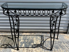 Salterini Leaf and Vine Console Table with Glass Top