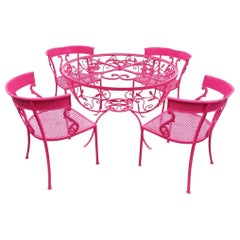 Salterini Maurizio Tempestini 5-Pc Dining Set in Pink Table and 5 Klismos Chairs