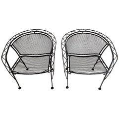 Salterini Midcentury Black Wrought Iron Outdoor Patio Chairs Set of 2 or 4