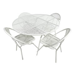 Salterini Mid-Century Modern Patio Outdoor Dining Set Chairs and Dining Table